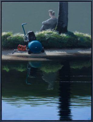 Poul Anker Bech 2008 - Dryade ved en skovsø, 120 x 90 cm