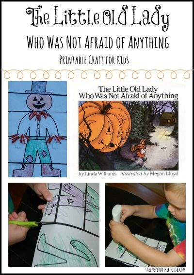 Child development appropriate Halloween activities inspired by the book The Little Old Lady Who Was Not Afraid of Anything.  Fine Motor, scissor skills and direction following all a part of this cute craft to go with this spooky book!