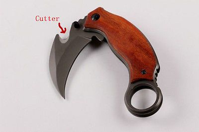 Wood Handle karambit Sharp Knife Liner lock Saber Outdoor Camping Potable tool