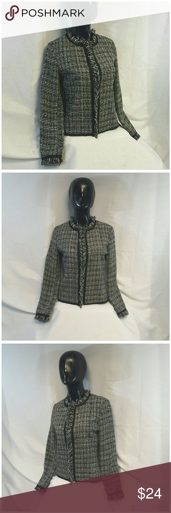 "NEW YORK N CO Frayed Cardigan/Blazer size 2 NEW YORK N CO,  Frayed Cardigan/Blazer, size 2 See Measurements, hidden bar none hook front closure, frayed collar sleeve hem and center front, trimmed all around in black, fully lined, 94% acrylic, 6% wool, lining 1005 polyester, approximate measurements: 21 1/2"" length shoulder to hem, 15 1/2"" bust laying flat,  22 1/2c sleeves, 14"" width shoulder seam to shoulder seam. ADD TO A BUNDLE! 20% BUNDLE DISCOUNT New York & Company Jackets & Coats"