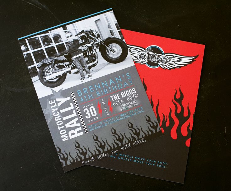 Motorcycle birthday party invitation on http://frogprincepaperie.com