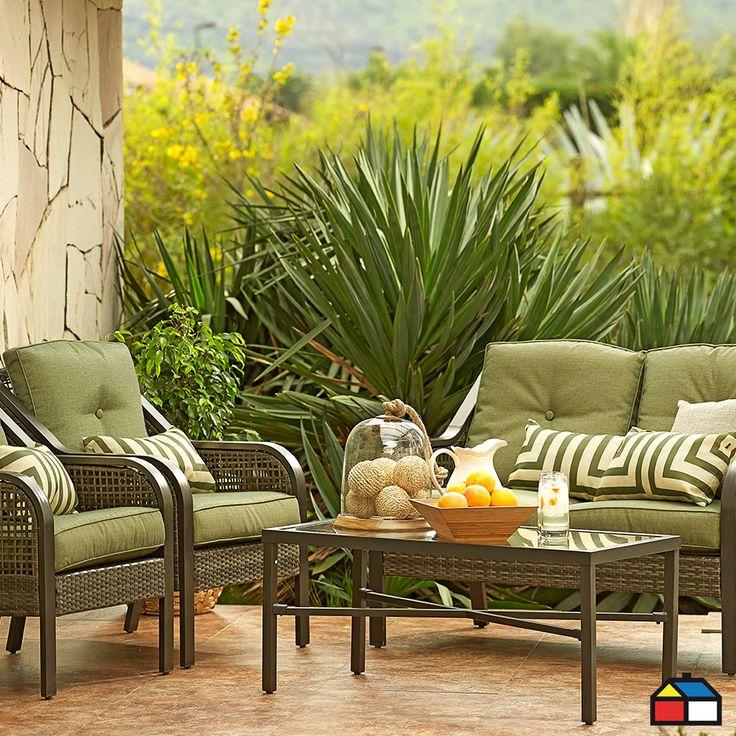 Juego #living aluminio con ratán PE 4 piezas #jardin #terraza