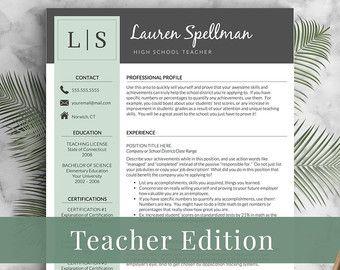 teacher resume template for word 1 2 and 3 by landeddesignstudio