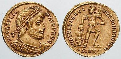Solidus raffigurante l'imperatore Flavio Claudio Giuliano, 361 a.C. ca. http://marchingegno88.blogspot.it/2014/02/letteratura-latina-tardo-antica05.html