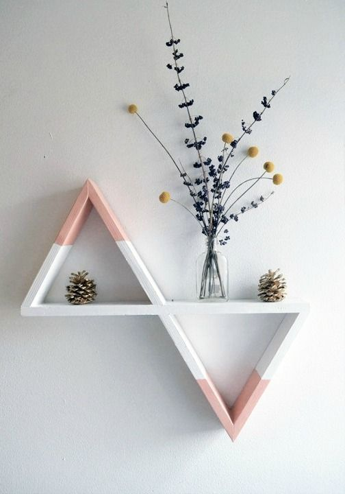 Decorating your spring home in pastels. | home decor ideas | modern geometric triangle shelves