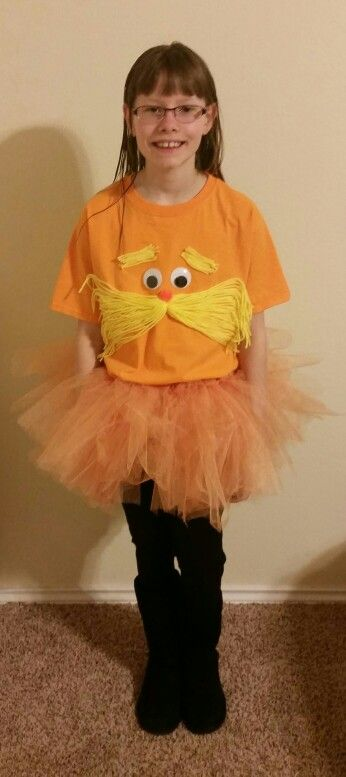Lorax costume my sister, Linzi, and I made for Taylor's Dr. Seuss Day at school!