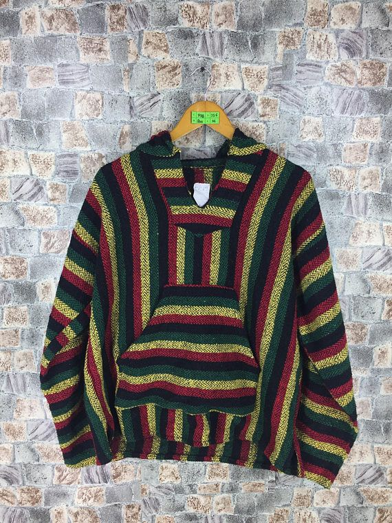 MEXICAN BAJA Jacket XLarge Vintage 90s Multicolour Streetwear Cross Colour Style Hoodie Jacket Size XL  Tag reads: Size XL (check measurements below)  Measurements: Width (armpit to armpit): 23.5 Length (shoulder to end of garment): 26  All measurements are taken with the garment