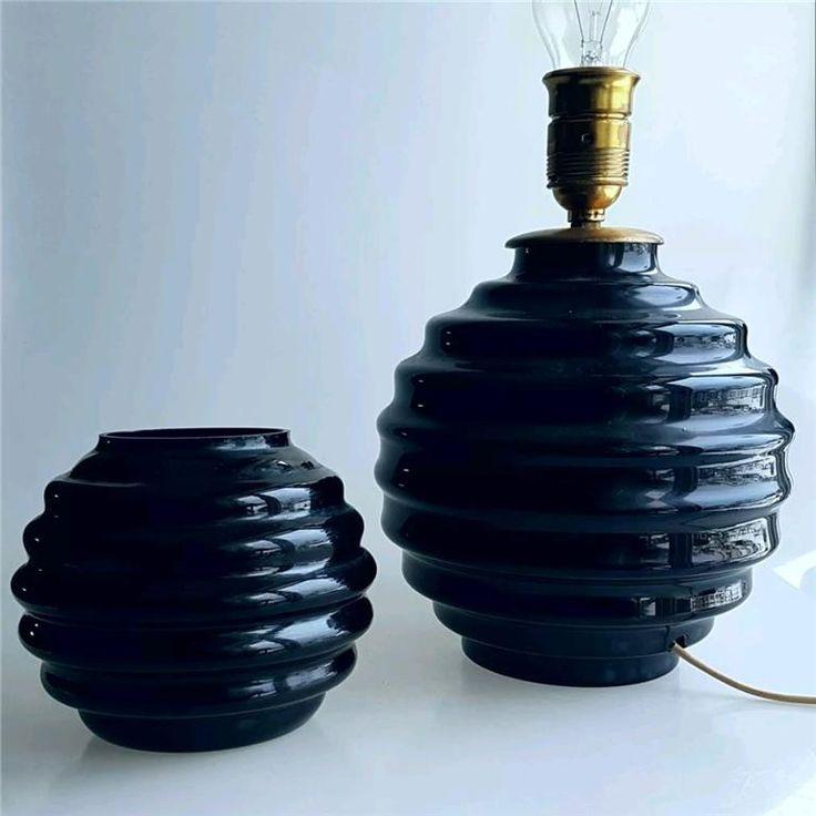 Stor Antik Lampfot Och Vas - Åfors Glasbruk - 30/40tal - Art Deco - 30cm