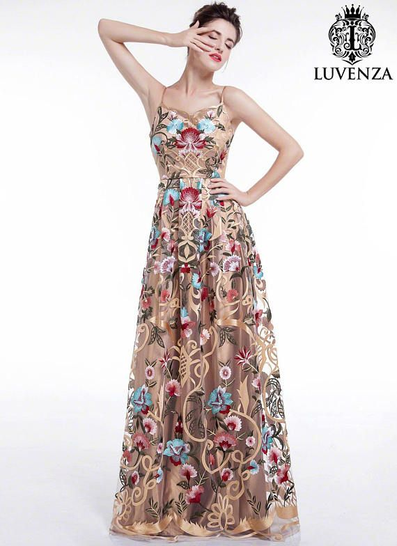 e3aaec04a6 Golden Spaghetti Strap Floral Embroidery Maxi Evening Dress/ Goldenrod  Floor Length Colorful Prom Go in 2019 | Products | Dresses, Evening dresses,  ...