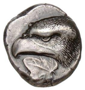 Statere - argento - Elis, Grecia (421-365 a.C.) - testa di aquila a sin. con foglia di pioppo - Münzkabinett der Staatlichen Museen Berlin