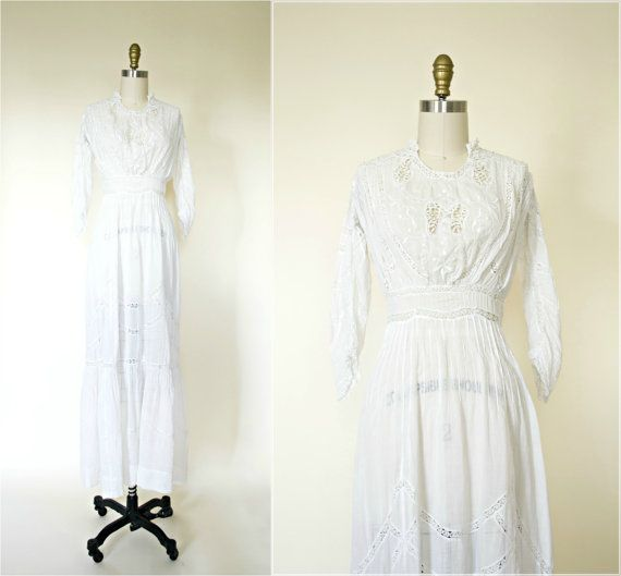 Edwardian wedding dress. Antique white cotton tea dress. 1900s