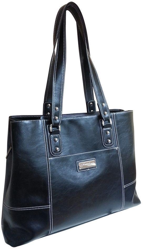 Franklin Covey HHG Black Vinyl Tote Bag Women Fashion Ladies