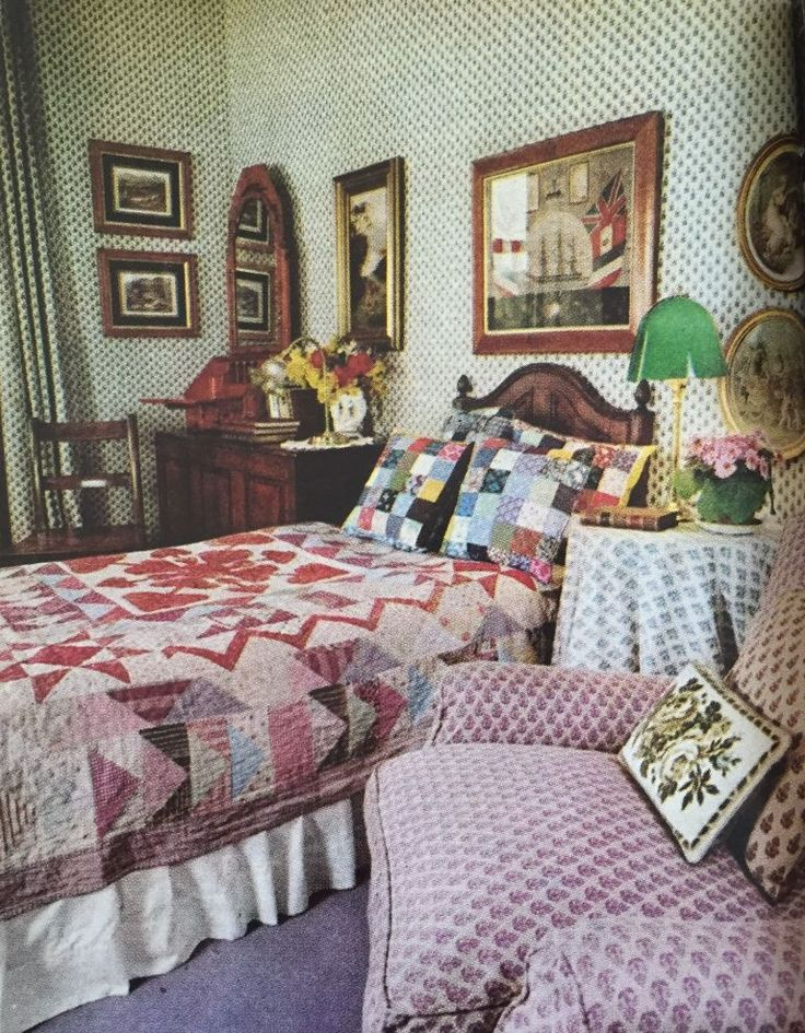 """1976 - Though it'll pop up again in the '80s (many times), the """"country"""" look begins to take off this year...especially at Laura Ashley's home. With her distinctive way with prints, Ashley's English aesthetic would later become one of the top trends of the next decade."""