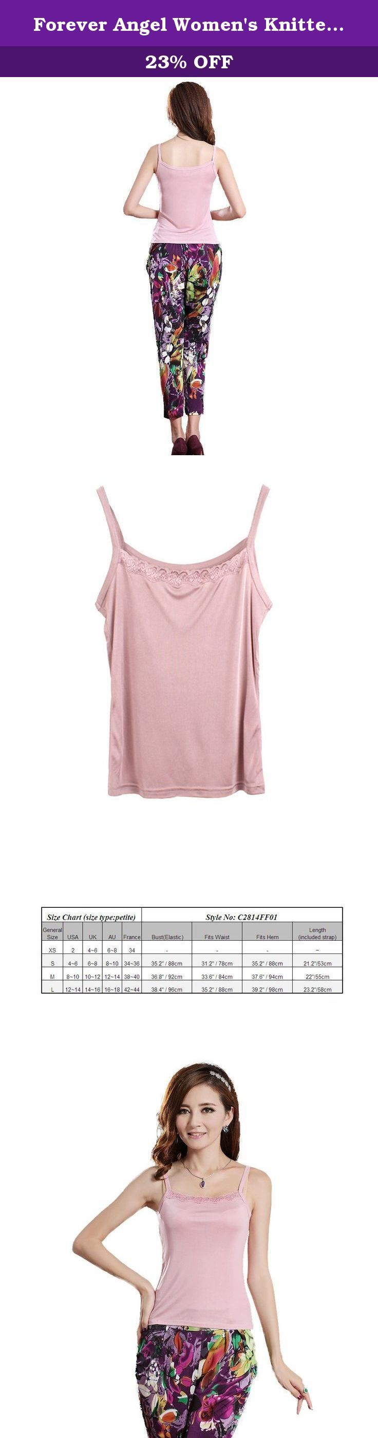 "Forever Angel Women's Knitted Silk Lace Camisole Top Dusky pink Size L. ♦This top features pretty lace, made of 100% Mulberry silk with stretch, more comfortable,soft; ♦The extremely soft knitted-silk material will gently hug your body and will not create any pressure points even when you creased it ; ♦Silk knitting is made of superior quality silk which is known as the ""Queen of Fiber"" for its softness, good ventilation, high moisture absorption, high intensity, good elasticity and..."