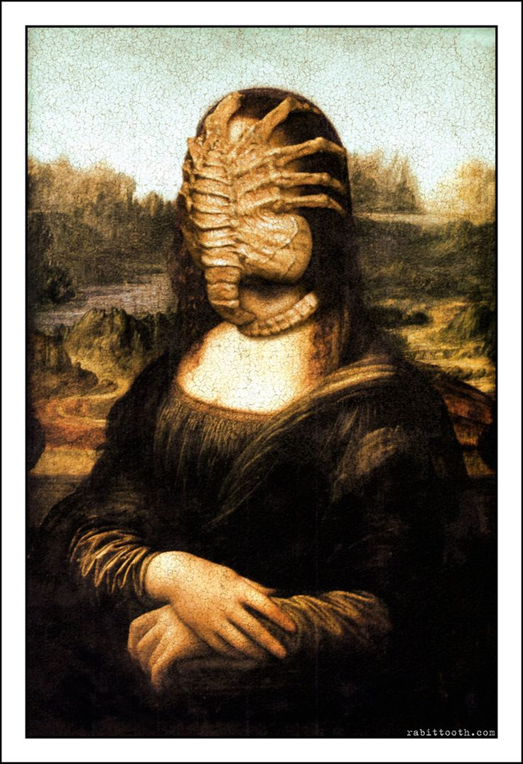Leonardo Da Vinci Paintings Secrets Aliens Mona Lisa with Facehug...