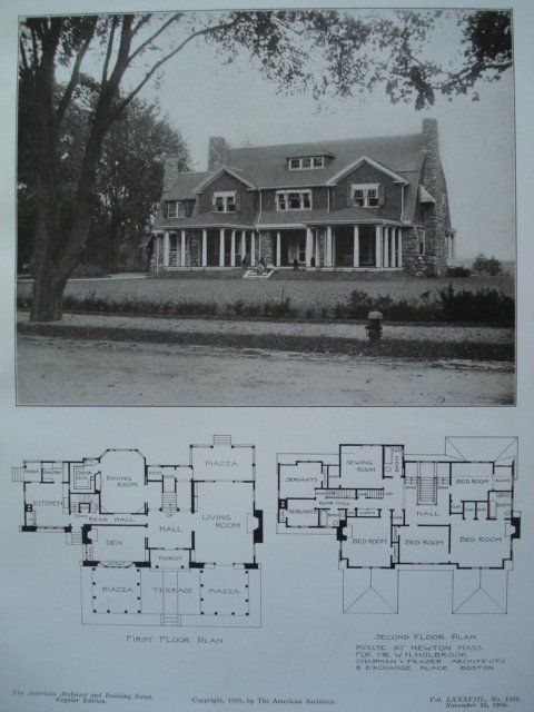 House for Mr. W.H. Holbrook, Newton, MA Chapman & Frazer, architect(s). From the American Architect and Building News, November 25, 1905. 8.25 by 12 inches. VG+ condition with browning around the edge
