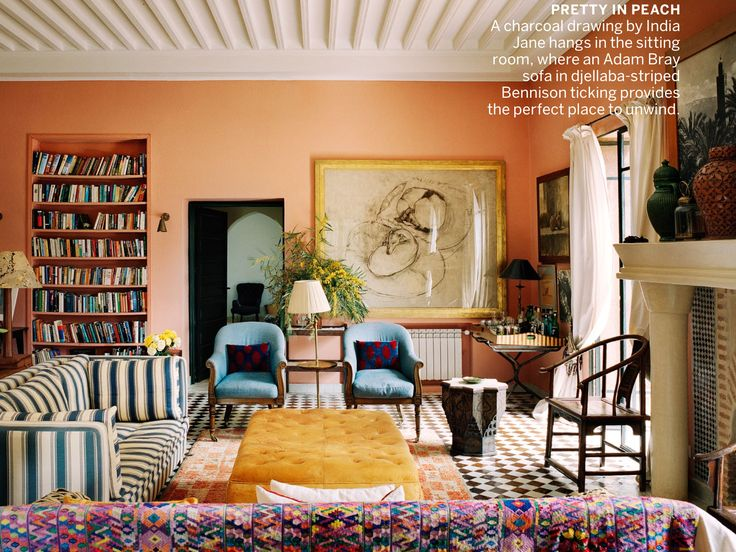 Loving The Peach And Pattern Mixing India Jane Birleys Morocco Home