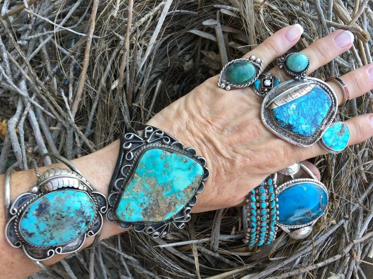 Chunky Turquoise Bracelet Navajo Sterling Silver - Yourgreatfinds, Vintage Jewelry - 1