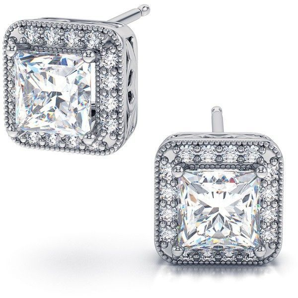 1.82ctw Halo Sphere Princess Cut Diamond Stud Earrings in 14k White... ($5,299) ❤ liked on Polyvore featuring jewelry, earrings, gioielli, silver, diamond earrings, white gold earrings, 14 karat gold stud earrings, 18k white gold earrings and 14 karat gold earrings