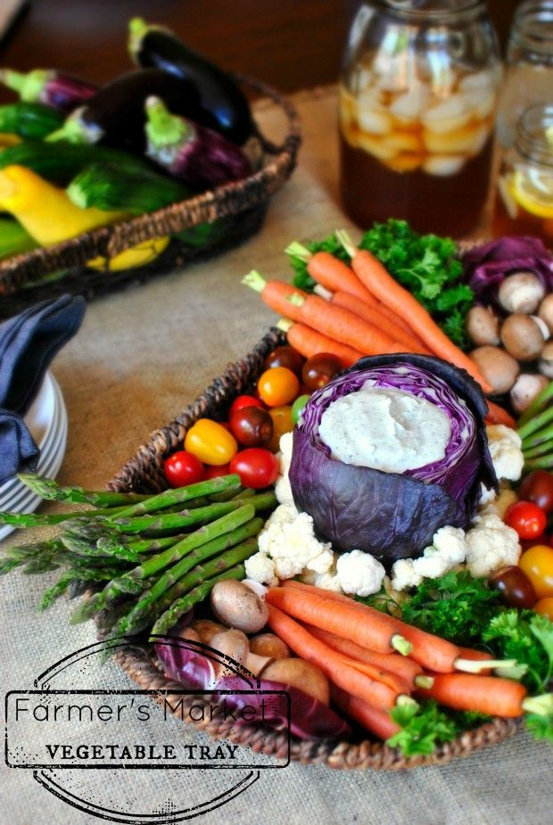 Farmer's Market Vegetable Tray - Love the arrangement and the dip inside of the cabbage