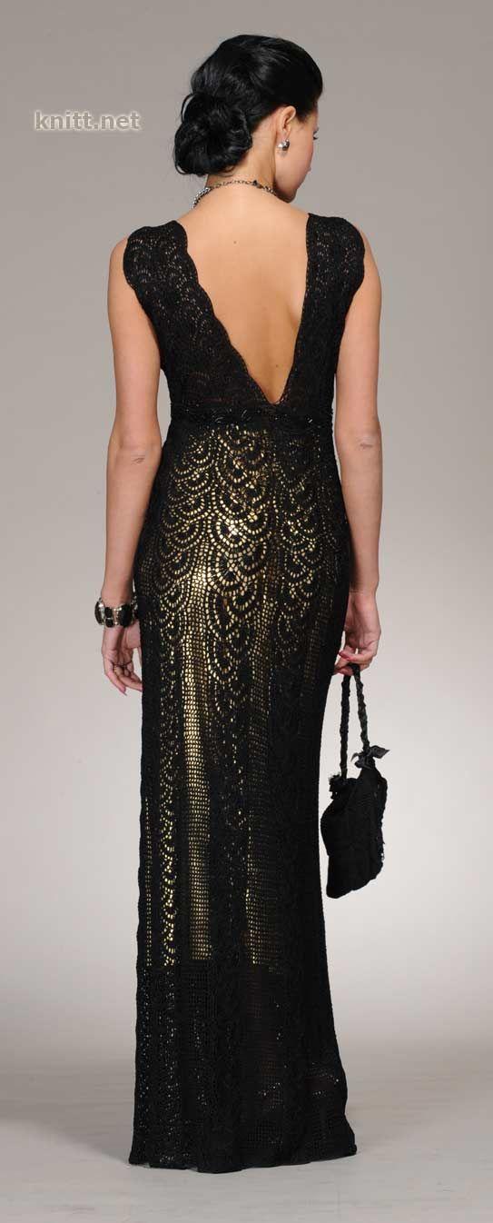 Вязаное черное платье крючком и сумочка. Роскошное платье связано крючком сочетанием лент и филейного кружева. Модель украшено бисером и стеклярусом