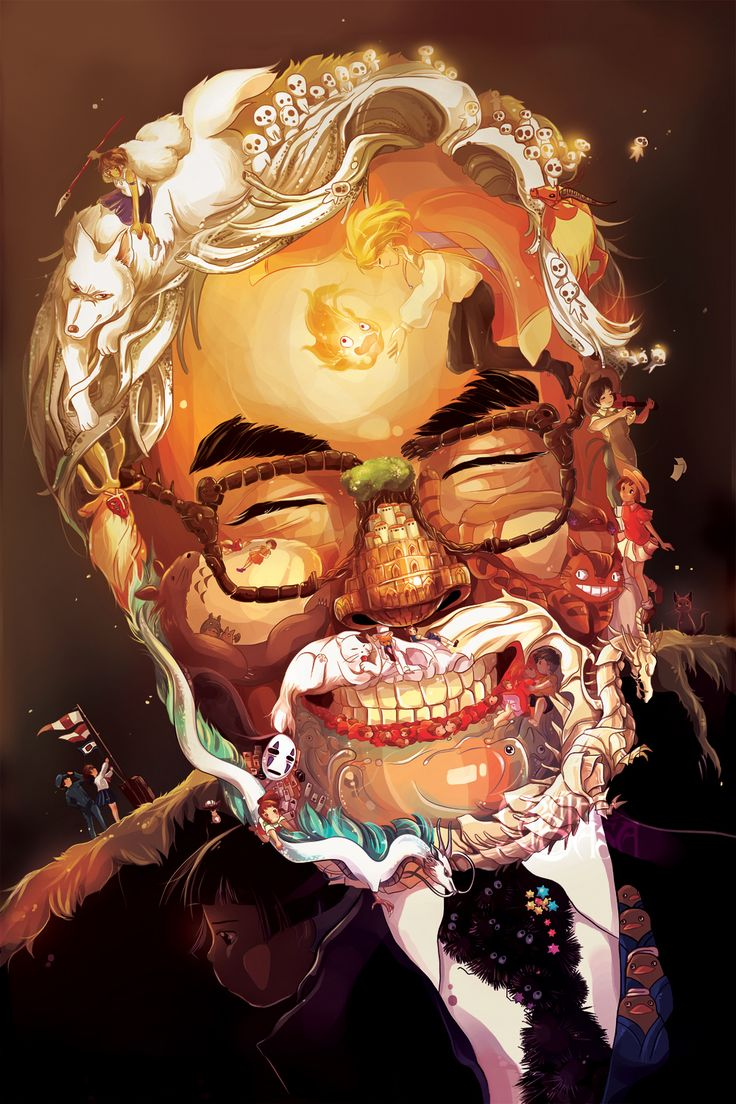 An adorable and brilliantly designed portrait art that pays tribute to the works of legendary Japanese filmmaker Hayao Miyazaki and his Studio Ghibli, where notable characters and elements from his movies are cleverly integrated into the details of the portrait.