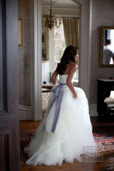 Vera Wang: Tulle Wedding Dress with grey sash