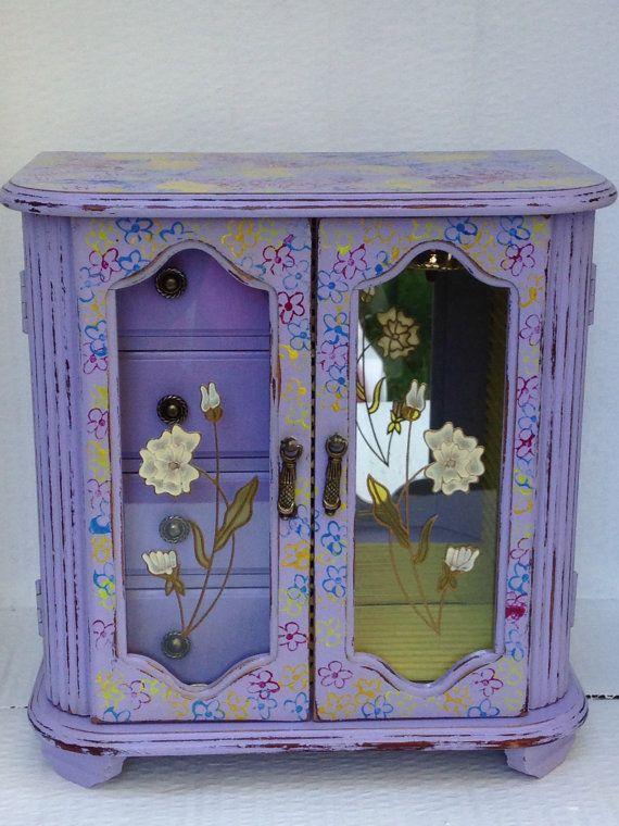 Jewellery box -vintage revamped jewellery box- Jewelry box- musical-shabby chic…