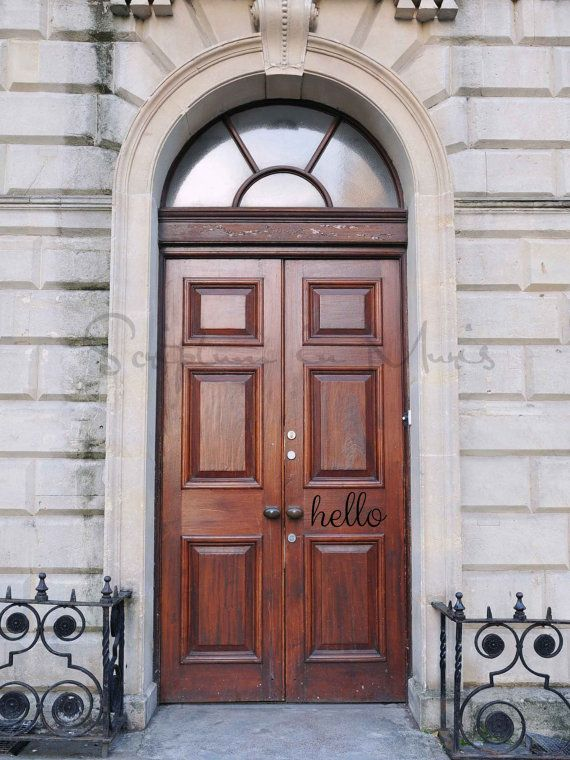 Hello Vinyl Front Door Decal Front Door vinyl decal double french front door, stone house, iron fence big wood brown door, modern house design