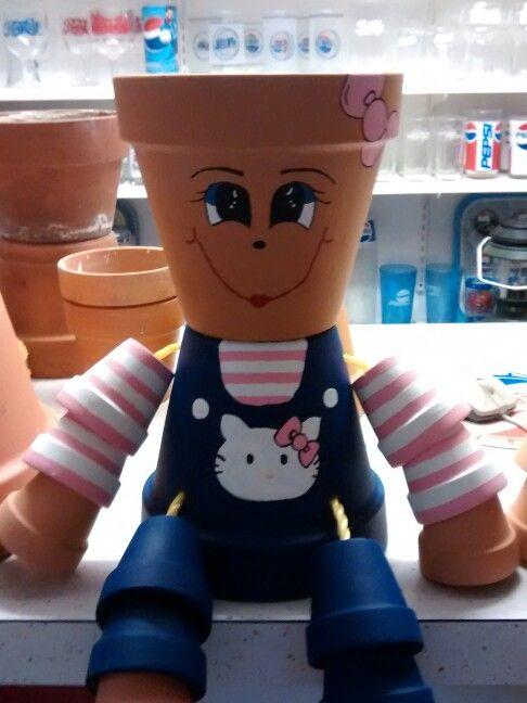 Hello Kitty clay pot person
