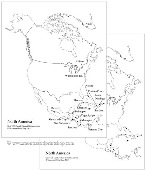 Best Study Of North America Images On Pinterest Geography - Us map with capitals black and white