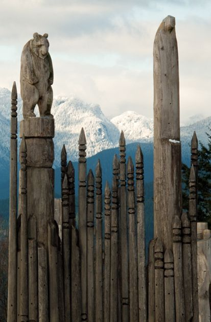 ~ Ainu totem poles ~ Burnaby Mountain, British Columbia, Canada~ by Robert D. MacNevin