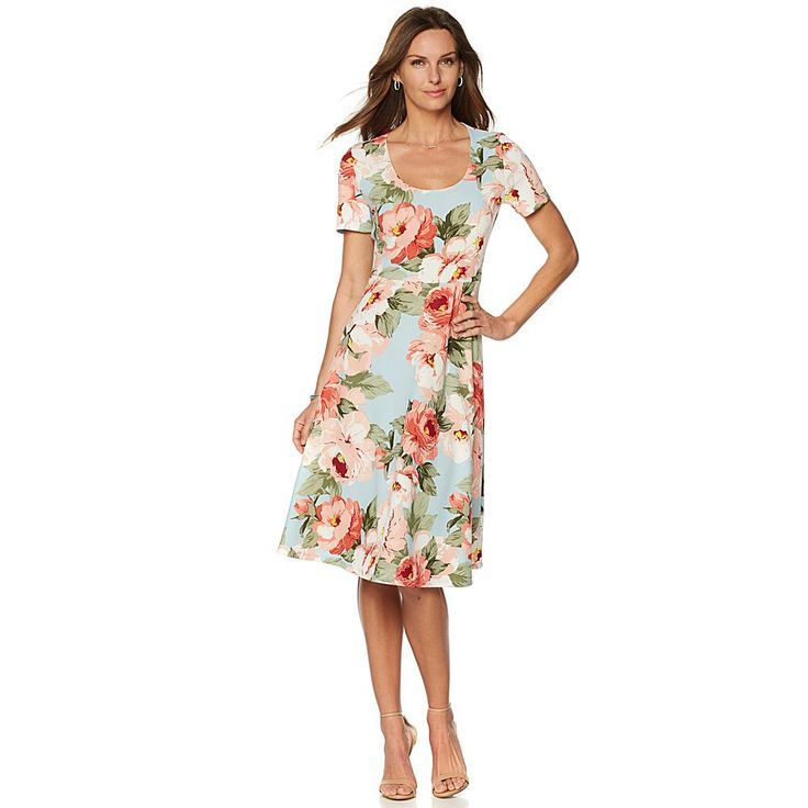 Slinky® Brand Short-Sleeve Printed Fit and Flare Dress - Coralskybluflower  Fit and flare