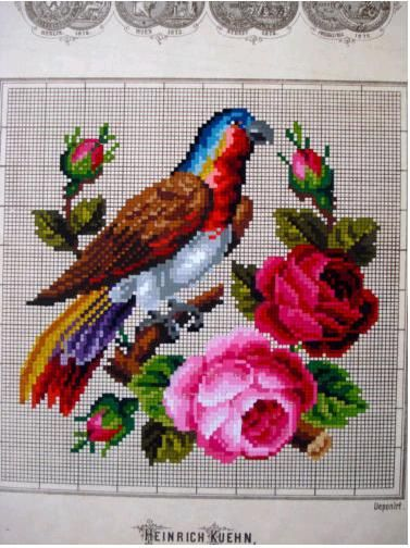 Berlin WoolWork Bird & Wreath Pattern Produced By Heinrich Kuehn Berlin Gallery.ru