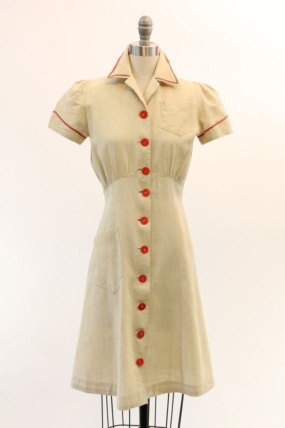 40s Linen Button Down Frock XS / 1940s 1930s Cream by CrushVintage