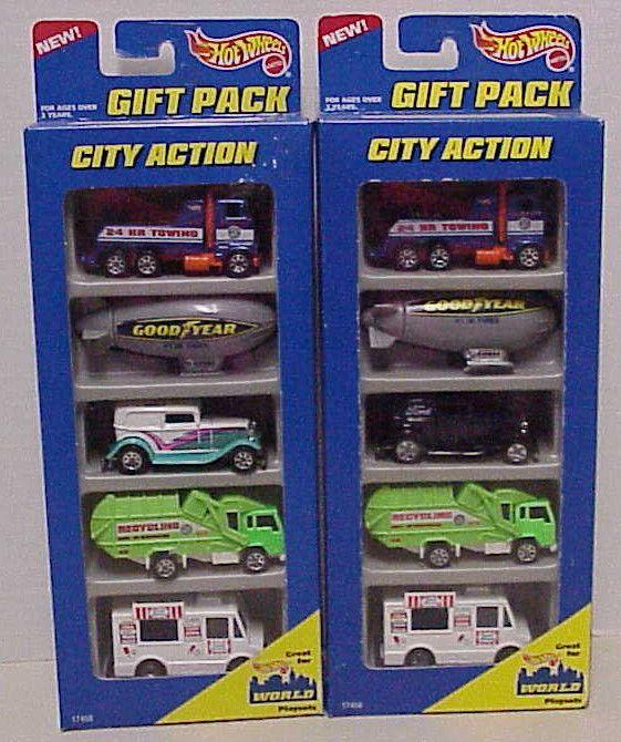 1996 Hot Wheels CITY ACTION 5 car Gift Packs lot of 2 -HTF vehicle variations