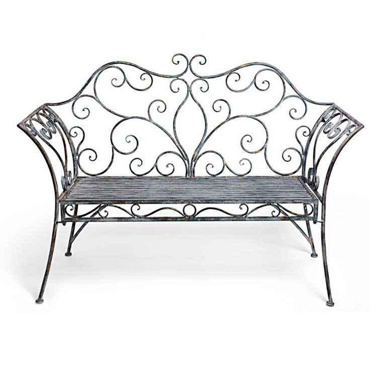 French Iron Scroll Metal Garden Bench for seats with chiffon woven through the back