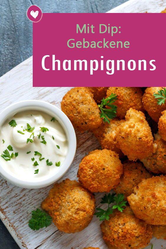 Gebackene Champignons: Rezept für Pilze mit Joghurt-Dip