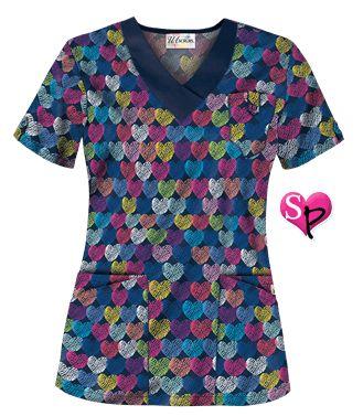 UA Entwined Love Navy Print Scrub Top Style # UA689ELN #uniformadvantage #uascrubs #fashiontop #love