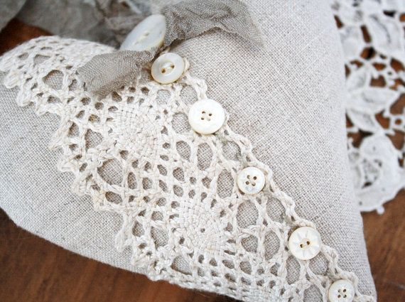 Linen Heart Sachet, would be a nice addition to a basket of stitched smalls