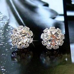 Spherical Crystal Flower Stud Earrings