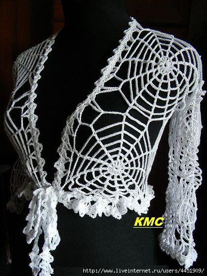 crochet spiderweb top with diagrams