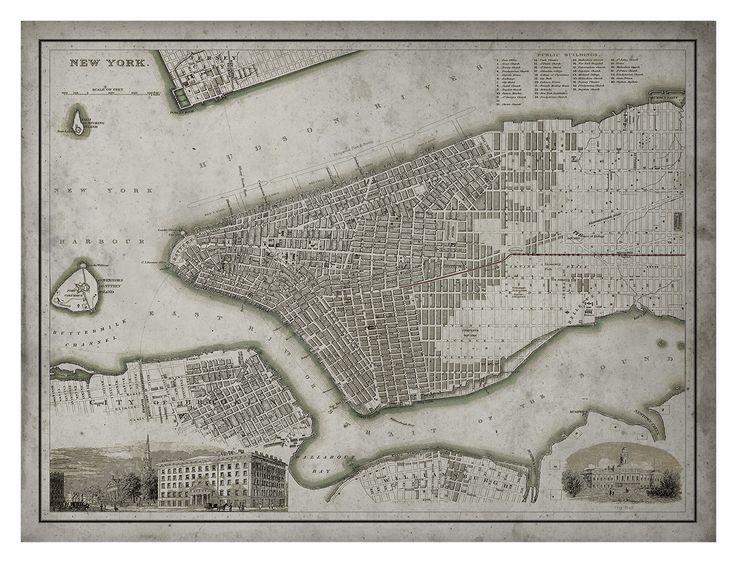 New York City Map: Vintage Map of Manhattan Island - Circa 19th C.