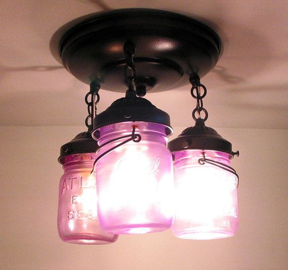 HANDCOLORED Vintage Canning Jar Ceiling LIGHT Trio by LampGoods