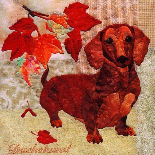 Block 1 Dachshund from Summer's End Quilt by Maggie Walker - applique cotton