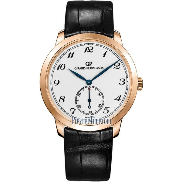 Girard Perregaux 1966 Automatic Small Seconds 40mm 49534-52-711-BK6A... (16,165 CAD) ❤ liked on Polyvore featuring men's fashion, men's jewelry, men's watches, mens black face watches and mens white watches