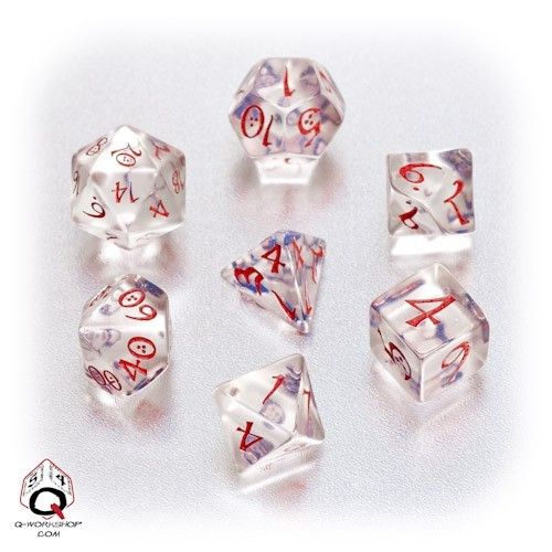 Transparent Blue Red Classic RPG Dice Set from Q Workshop | eBay