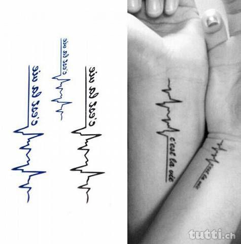 """Tattoo """"C'est la vie"""" e linea battito del cuore"""