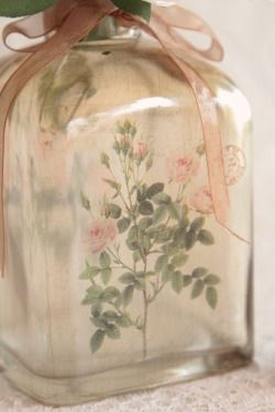 Vintage rose painted bottle with ribbon