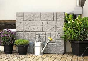Wall Tank, Stone Grey - 90 Gallons - RainHarvest Systems Online Store for Rainwater Collection, Filtering and Sustainable Re-use.